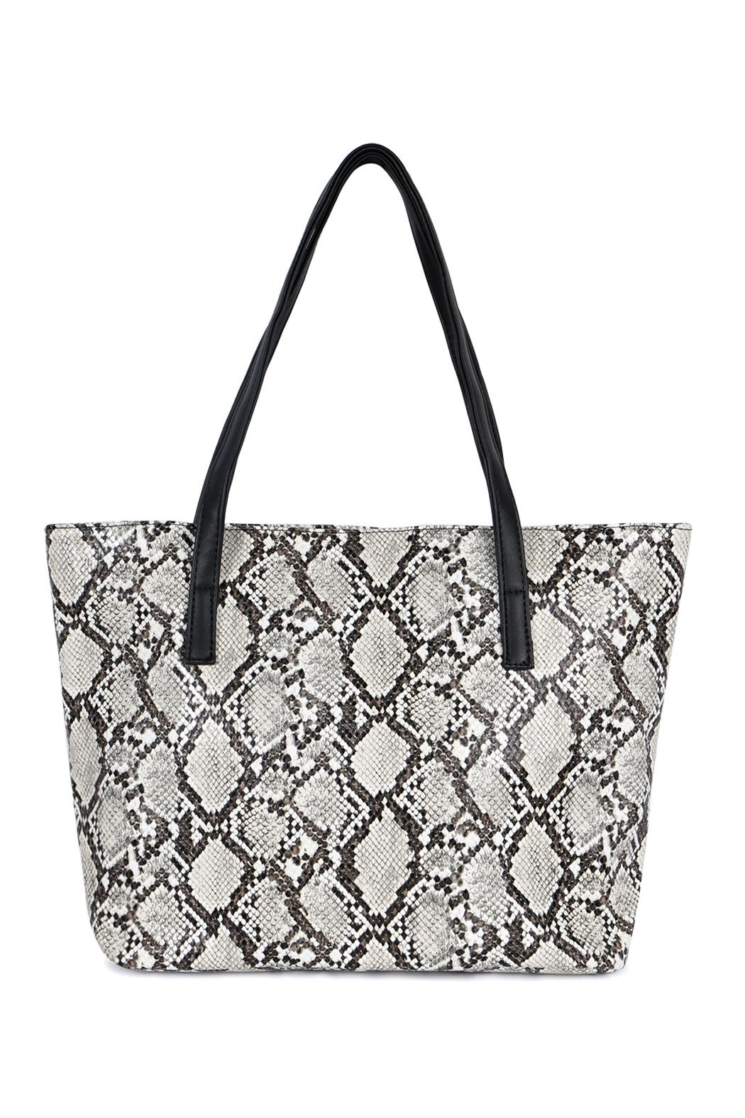 Riah Fashion Python Print Leather Tote Bag - Main Image