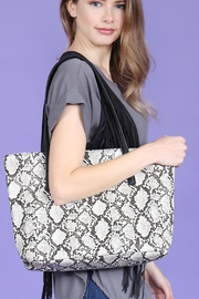 Riah Fashion Python Print Leather Tote Bag - Front full body