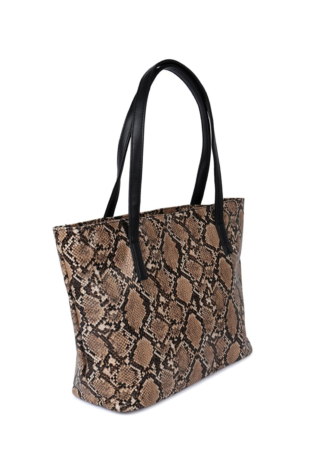 Riah Fashion Python Print Leather Tote Bag - Front Full Image