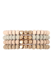 Riah Fashion Quad-Wood-Stackable-Charm-Stretch-Bracelet - Front cropped