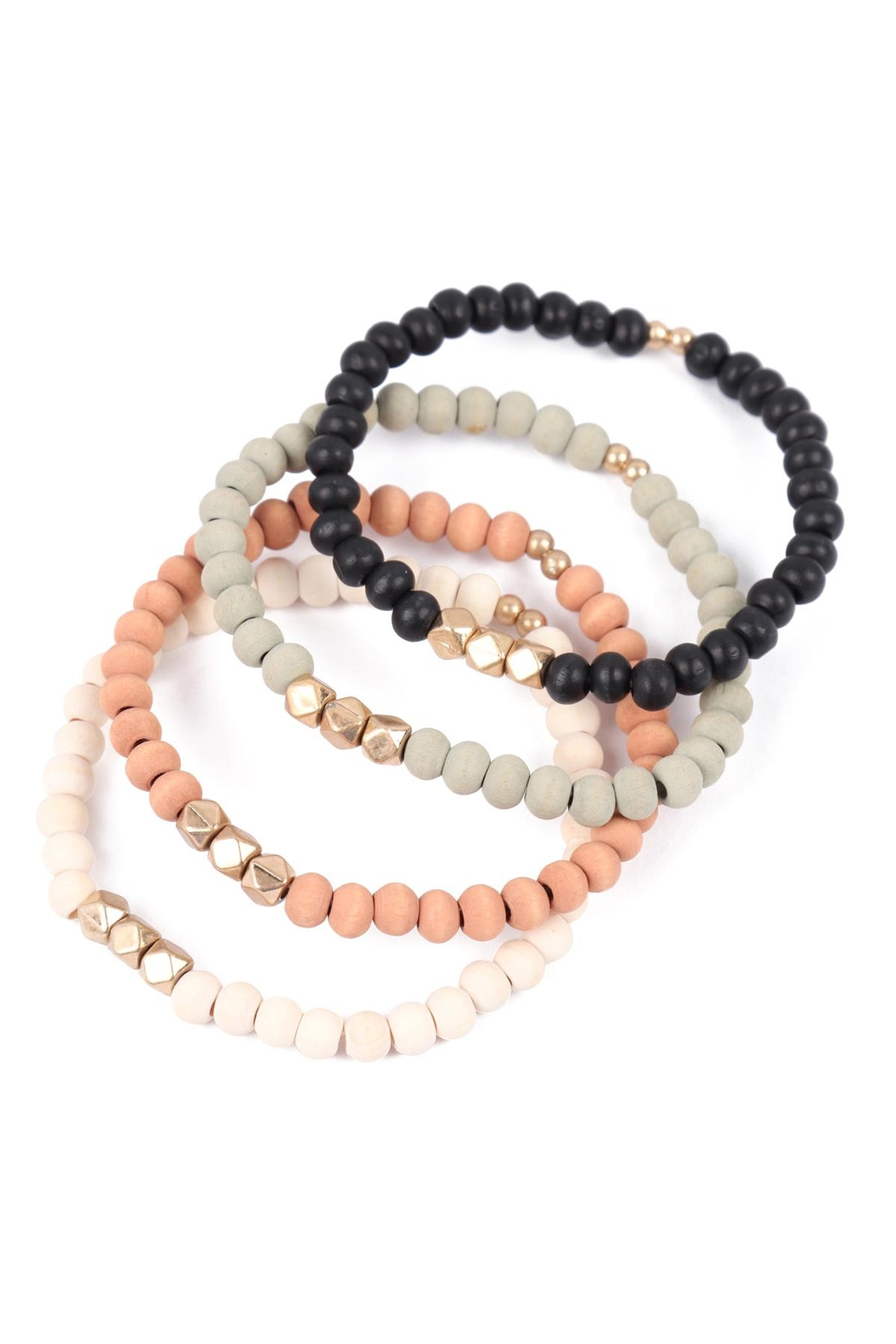 Riah Fashion Quad-Wood-Stackable-Charm-Stretch-Bracelet - Front Full Image