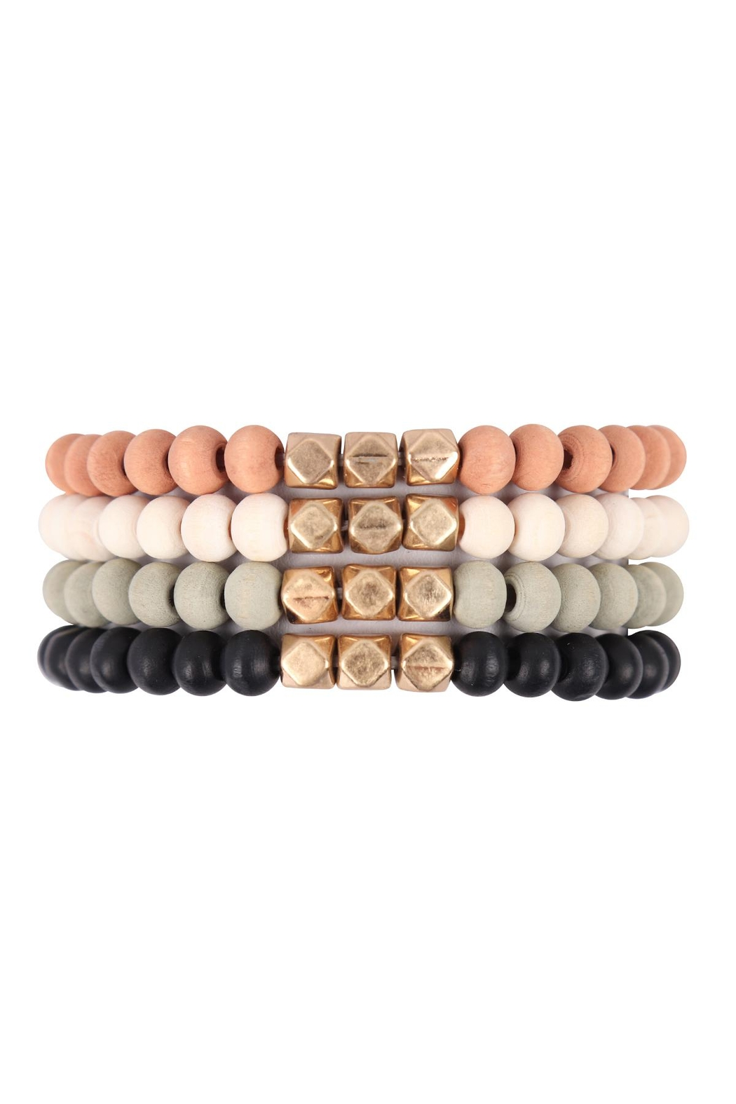 Riah Fashion Quad-Wood-Stackable-Charm-Stretch-Bracelet - Front Cropped Image