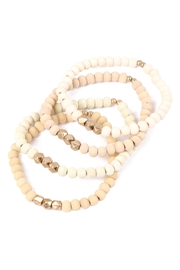 Riah Fashion Quad-Wood-Stackable-Charm-Stretch-Bracelet - Front full body