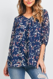 Riah Fashion Quarter-Puff-Sleeves-Floral-Top-With-Inside-Lining - Product Mini Image