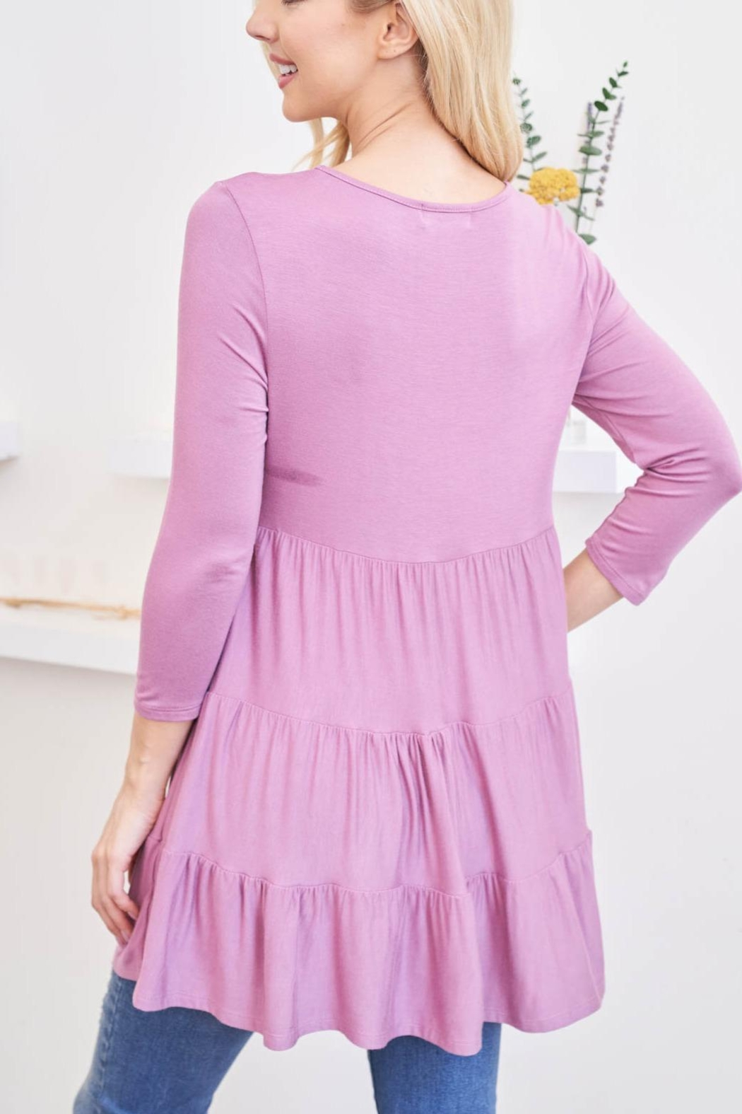Riah Fashion Quarter-Sleeve-Solid-Tiered-Top - Back Cropped Image