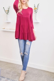 Riah Fashion Quarter-Sleeve-Solid-Tiered-Top - Other
