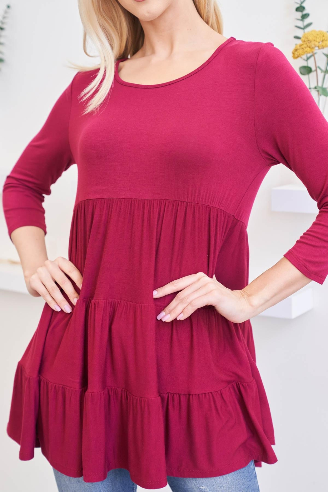 Riah Fashion Quarter-Sleeve-Solid-Tiered-Top - Side Cropped Image