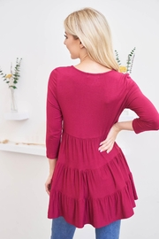 Riah Fashion Quarter-Sleeve-Solid-Tiered-Top - Front full body