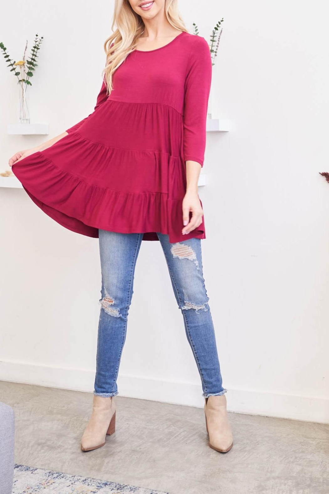 Riah Fashion Quarter-Sleeve-Solid-Tiered-Top - Main Image