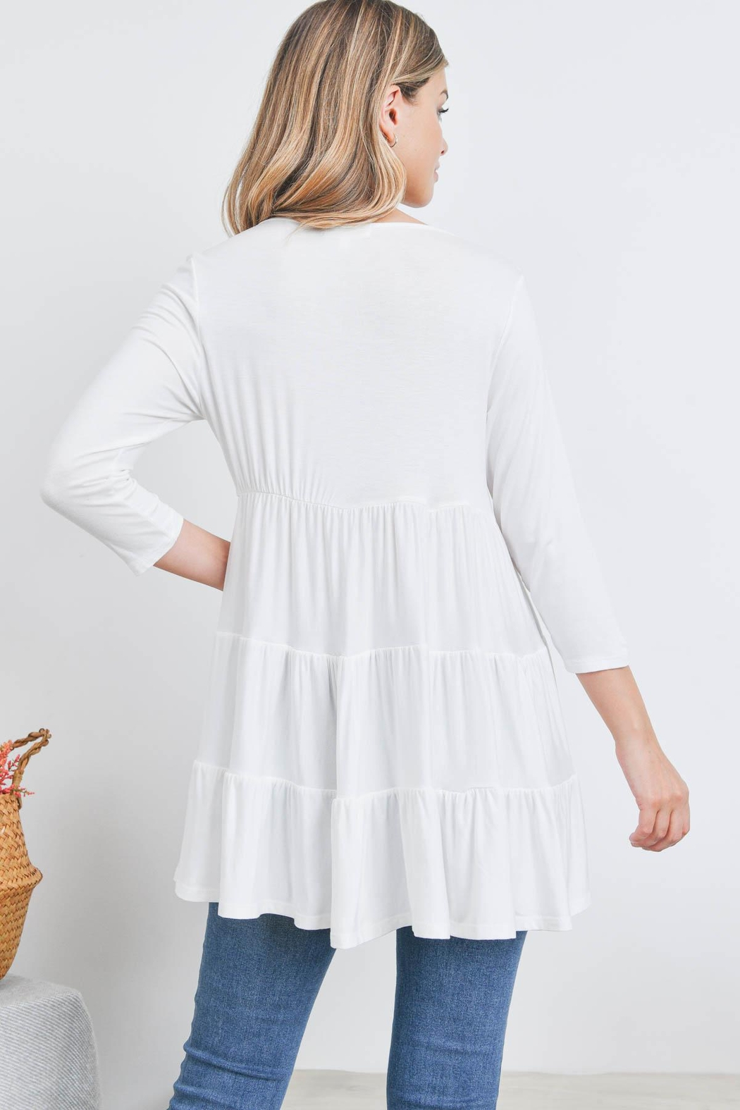 Riah Fashion Quarter-Sleeve-Solid-Tiered-Top - Front Full Image