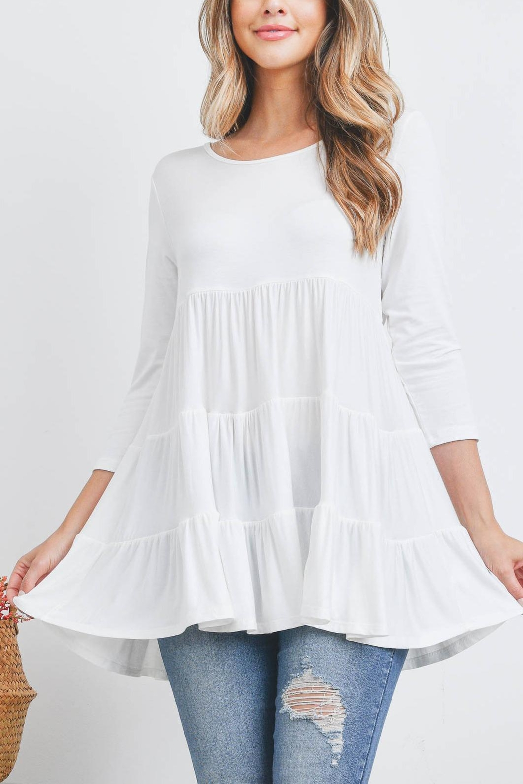 Riah Fashion Quarter-Sleeve-Solid-Tiered-Top - Front Cropped Image