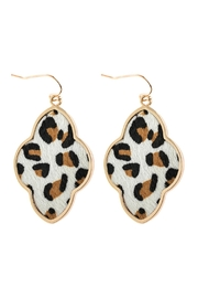Riah Fashion Quatrefoil Faceted-Leopard Drop-Earrings - Product Mini Image