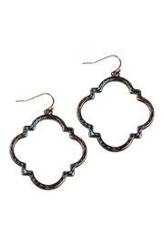 Riah Fashion Quatrefoil Hammered Metal Earrings - Product Mini Image