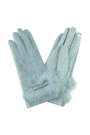 Riah Fashion Real-Fur-W/bow-Gloves-Smart-Touch - Product Mini Image