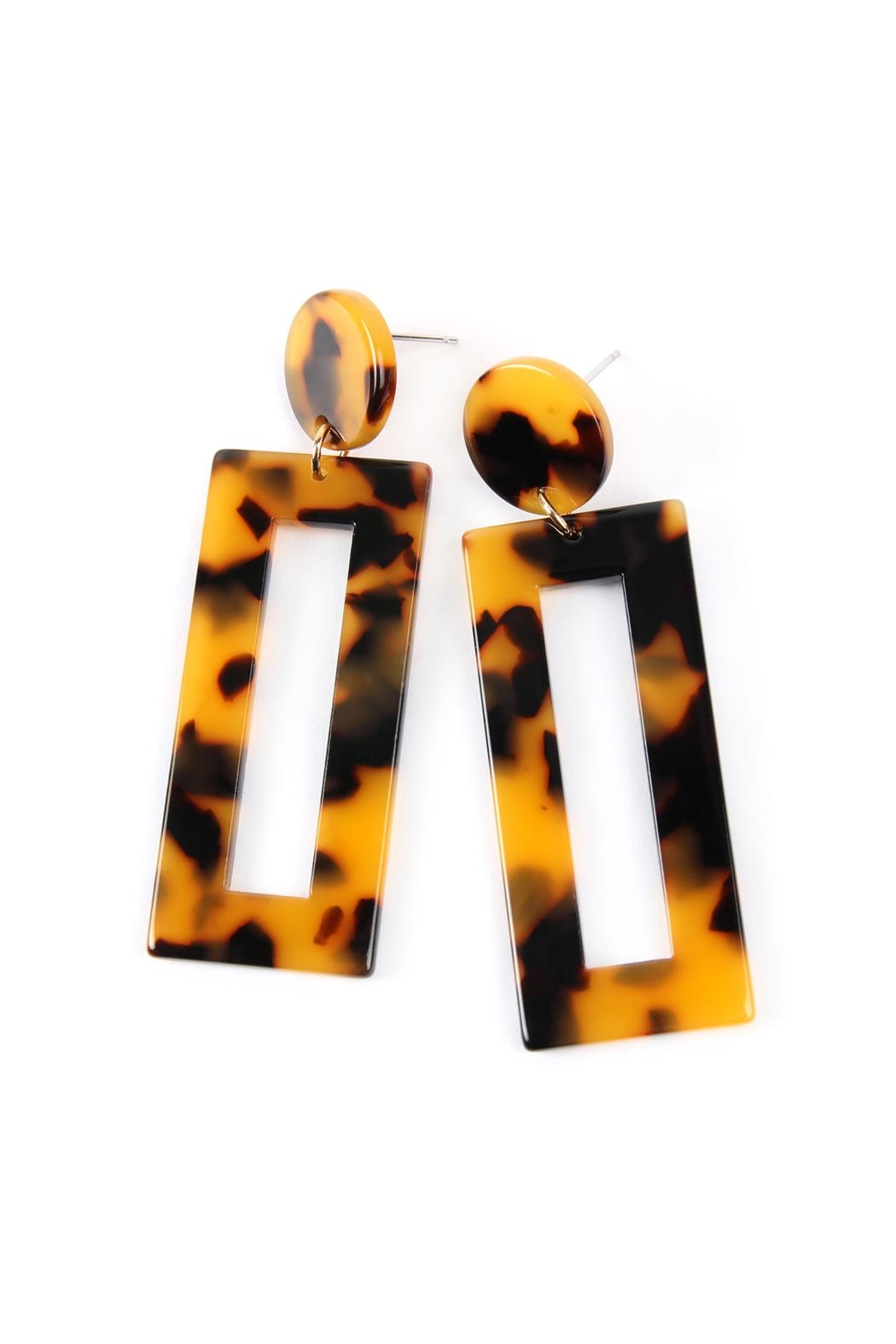 Riah Fashion Rectangle-Drop Tortoise-Acetate Earrings - Front Full Image