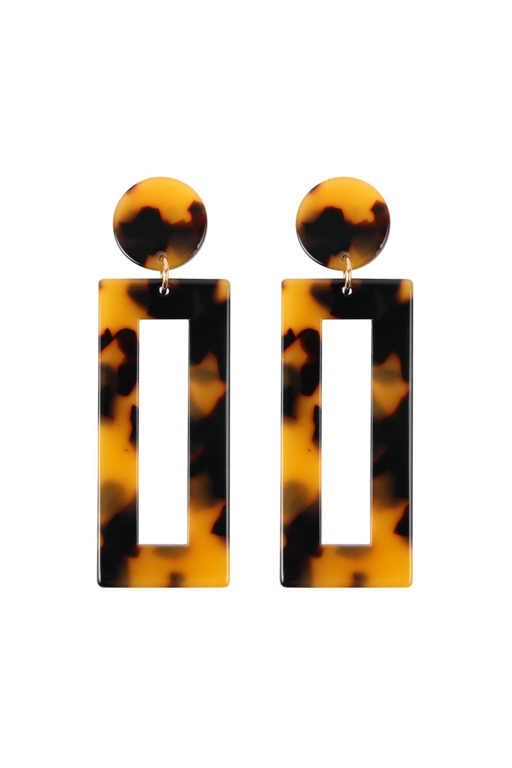 Riah Fashion Rectangle-Drop Tortoise-Acetate Earrings - Front Cropped Image