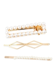 Riah Fashion Rectangle Pearl Hair Clip Set - Product Mini Image