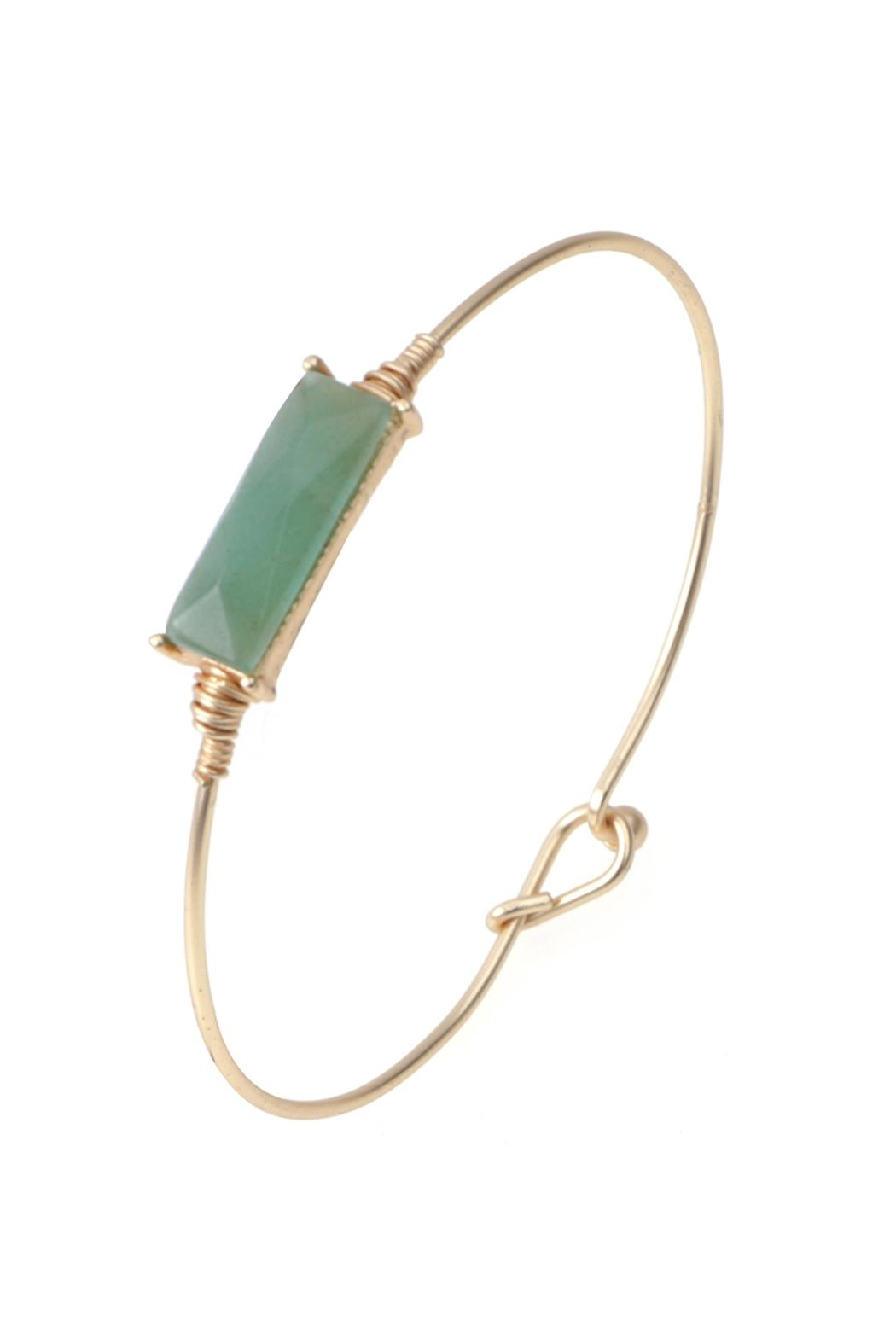 Riah Fashion Rectangular Stone Wired Bracelet - Front Cropped Image