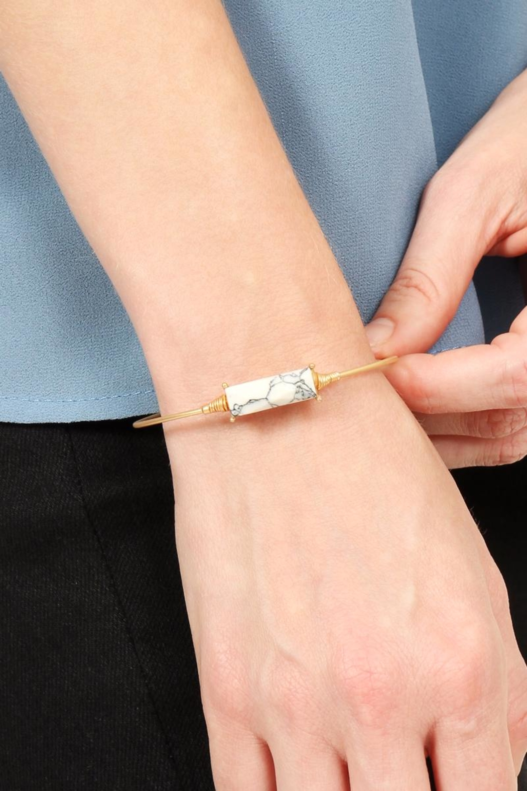 Riah Fashion Rectangular Stone Wired Bracelet - Front Full Image