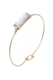 Riah Fashion Rectangular Stone Wired Bracelet - Front cropped