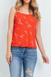 Riah Fashion Red-White-Print-Top - Front cropped