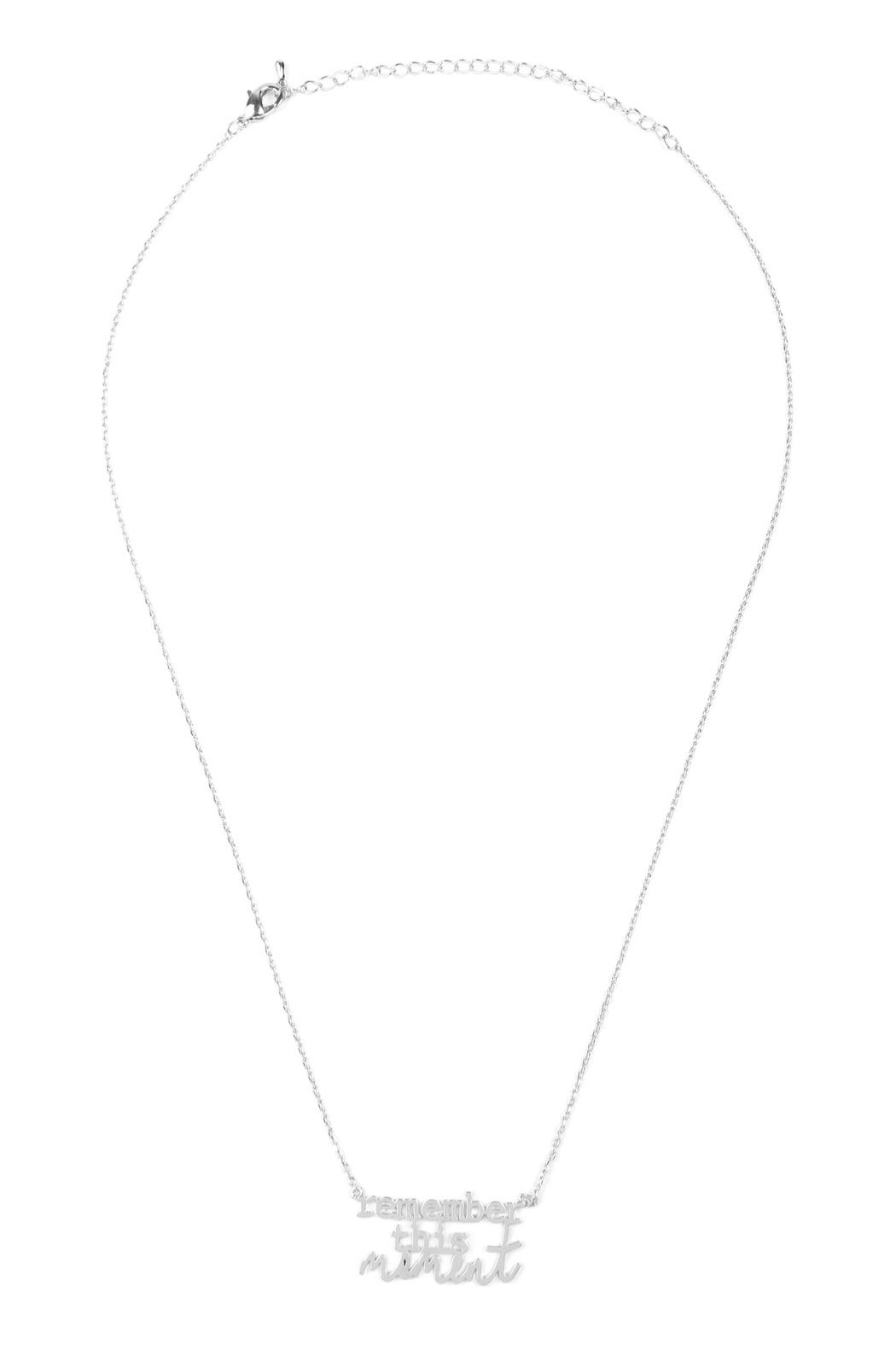 Riah Fashion Remember-This-Moment Message Necklace - Front Cropped Image