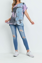 Riah Fashion Reverse-Cover-Stitch-Waffle-Tie-Dye-Top - Other