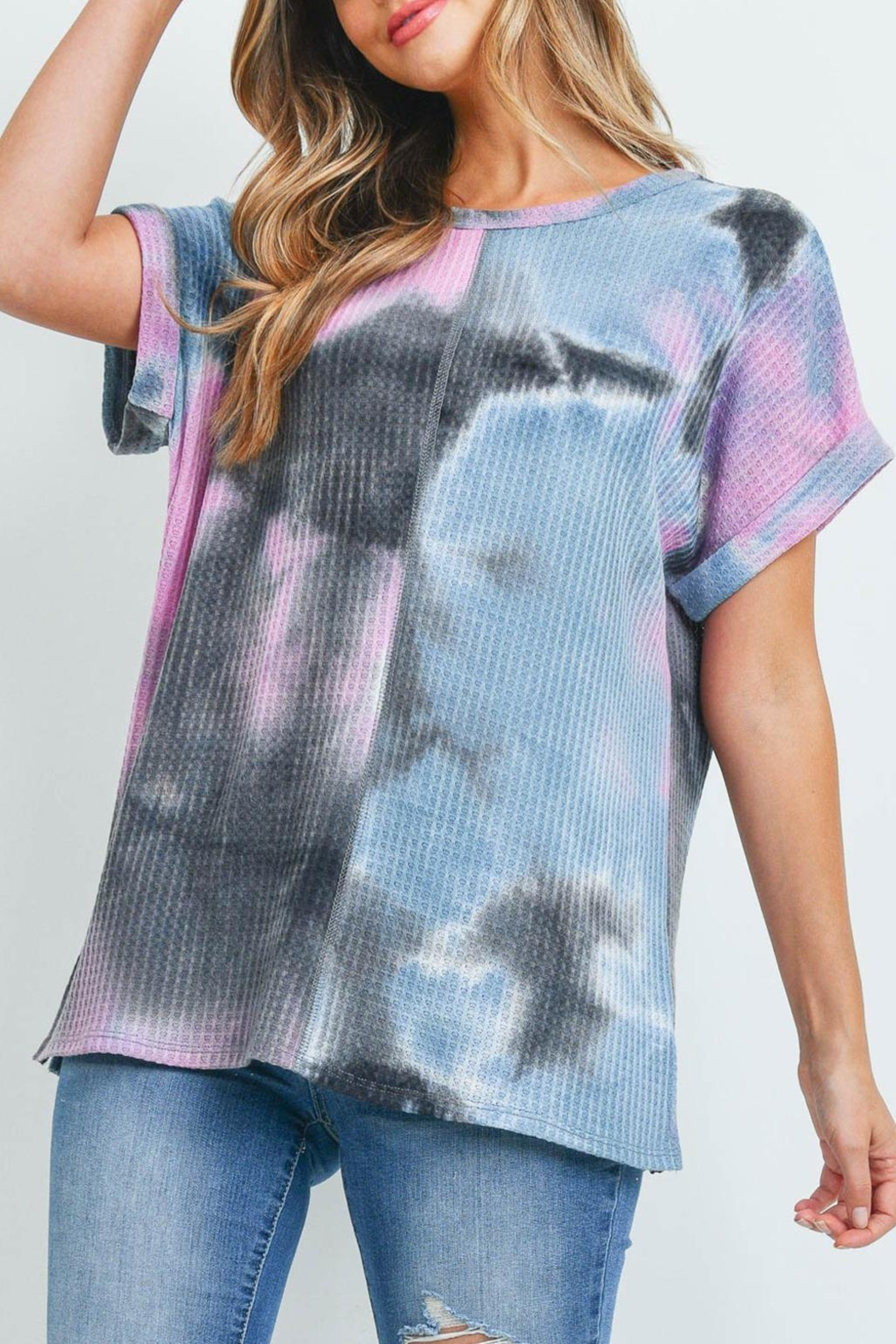 Riah Fashion Reverse-Cover-Stitch-Waffle-Tie-Dye-Top - Back Cropped Image