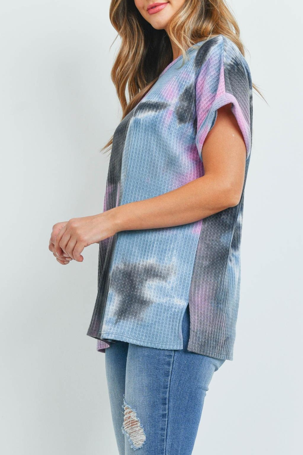 Riah Fashion Reverse-Cover-Stitch-Waffle-Tie-Dye-Top - Side Cropped Image