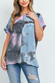 Riah Fashion Reverse-Cover-Stitch-Waffle-Tie-Dye-Top - Product Mini Image