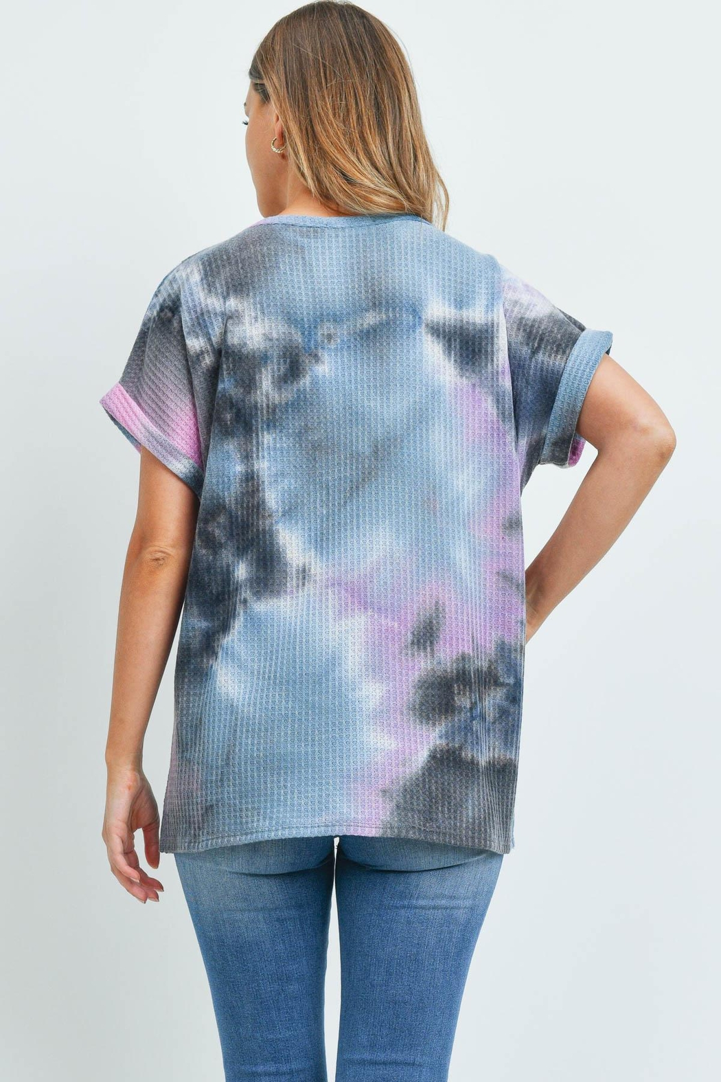 Riah Fashion Reverse-Cover-Stitch-Waffle-Tie-Dye-Top - Front Full Image