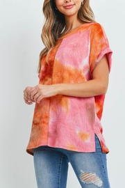 Riah Fashion Reverse-Cover-Stitch-Waffle-Tie-Dye-Top - Back cropped