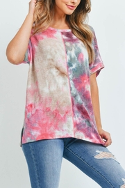 Riah Fashion Reverse-Cover-Stitch-Waffle-Tie-Dye-Top - Side cropped