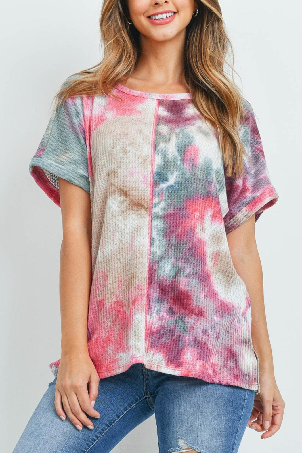 Riah Fashion Reverse-Cover-Stitch-Waffle-Tie-Dye-Top - Front Cropped Image