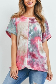 Riah Fashion Reverse-Cover-Stitch-Waffle-Tie-Dye-Top - Front cropped