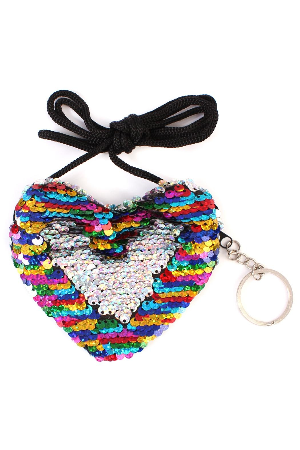 Riah Fashion Reversible-Heart Sequin Crossbody-Bag - Front Cropped Image