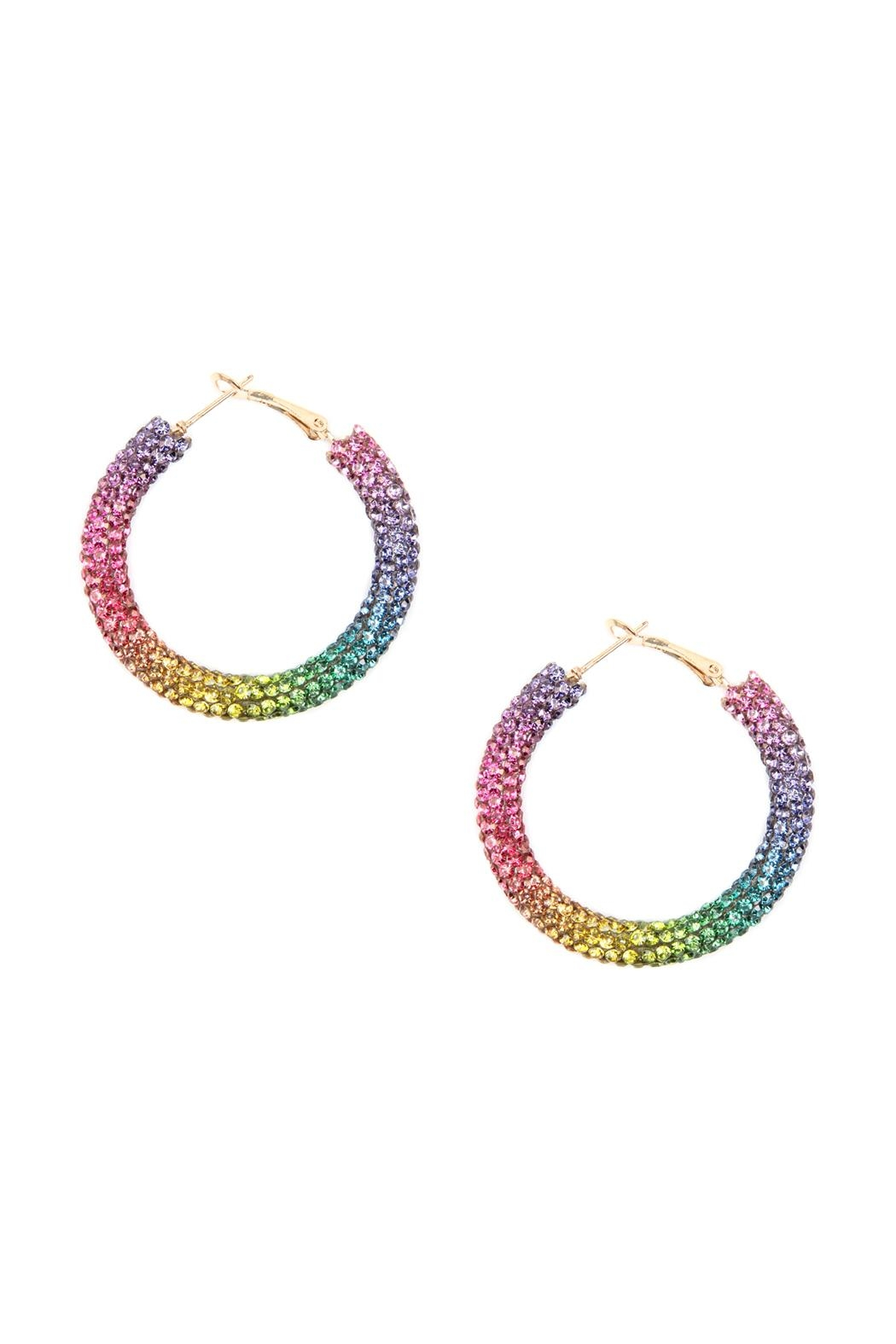Riah Fashion Rhinestone Coated Hoop-Earrings - Front Cropped Image