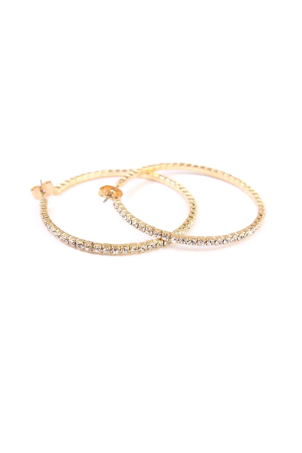 Riah Fashion Rhinestone Hoop Earrings - Front Cropped Image