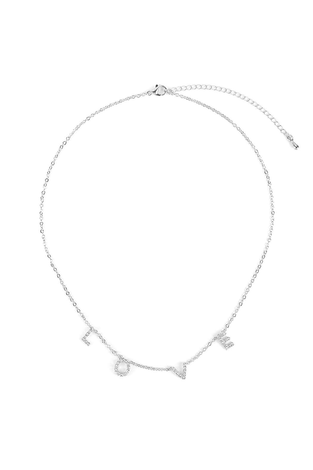 Riah Fashion Rhinestone-Love-Insparation-Necklace - Front Cropped Image