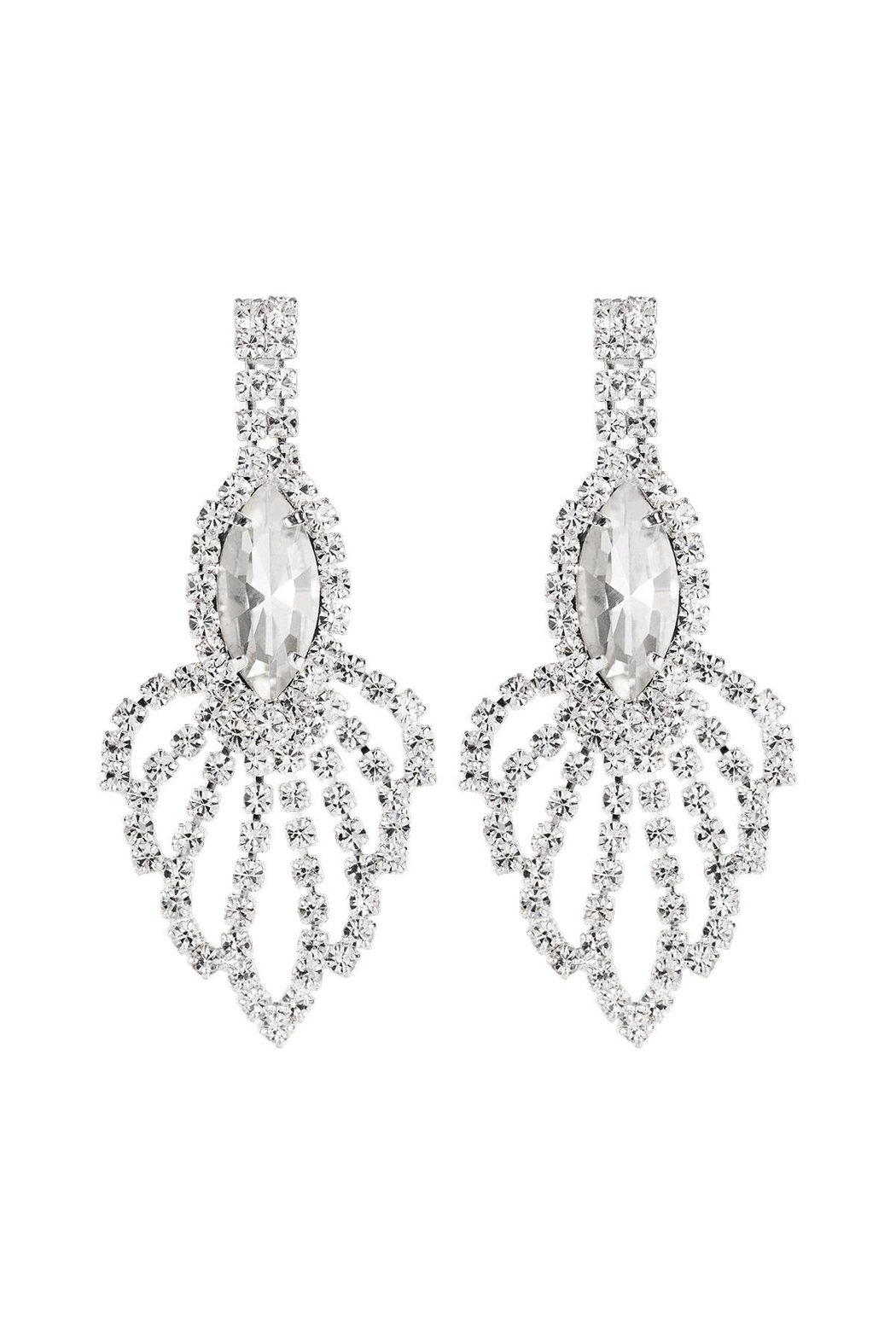 Riah Fashion Rhinestone-Marquise-Chandelier-Earrings - Front Cropped Image