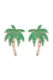 Riah Fashion Rhinestone Palm Tree Earrings - Product Mini Image