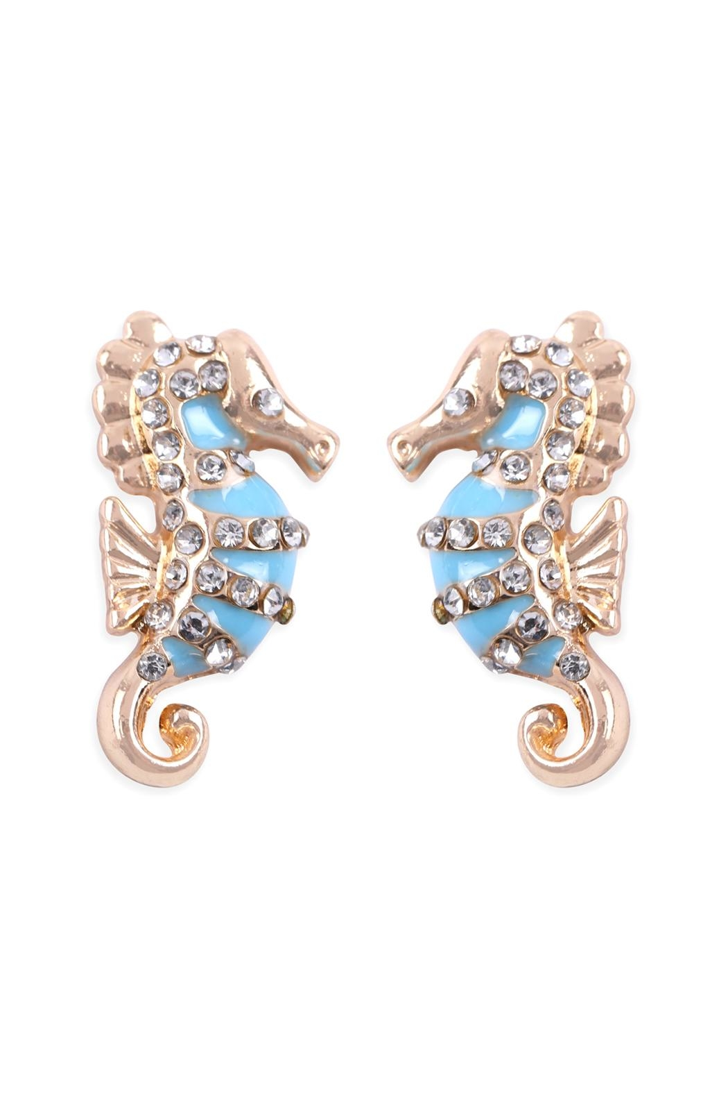 Riah Fashion Rhinestone Seahorse-Earrings - Main Image