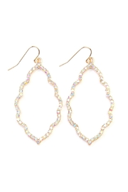 Riah Fashion Rhinestones-Cast Cloud-Shape Drop-Earrings - Front cropped