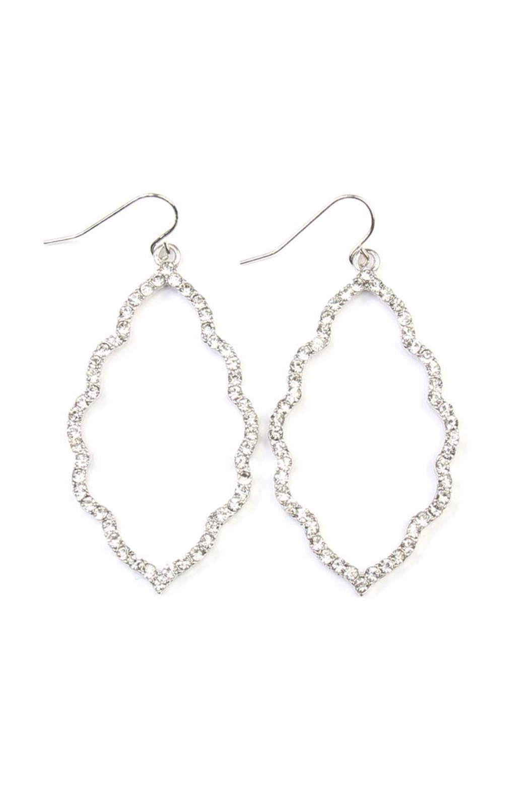Riah Fashion Rhinestones-Cast Cloud-Shape Drop-Earrings - Front Cropped Image