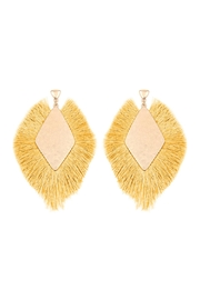 Riah Fashion Rhombus Shape Tassel Post Drop Earrings - Product Mini Image