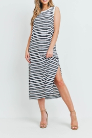 Riah Fashion Rib-Multi-Color-Stripes-Maxi-Dress-With-Side-Slit - Front cropped