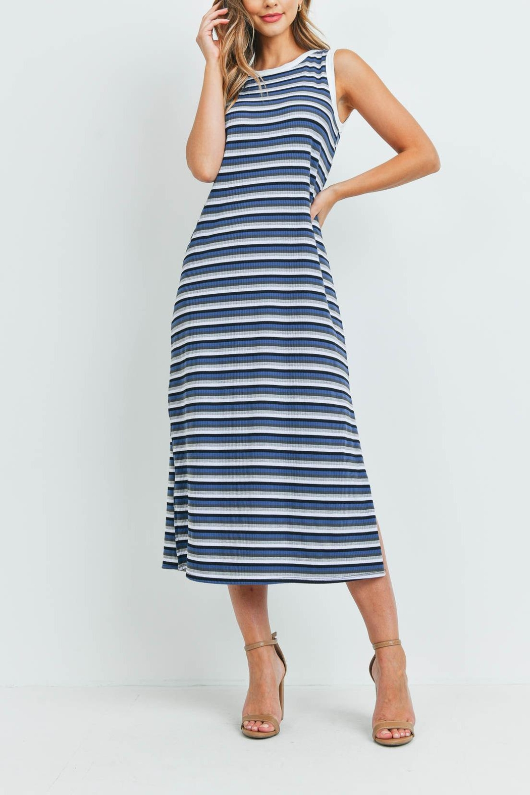 Riah Fashion Rib-Multi-Color-Stripes-Maxi-Dress-With-Side-Slit - Front Cropped Image