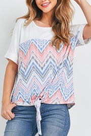Riah Fashion Rolled-Sleeve-Boho-Print-Front-Knot-Top - Product Mini Image
