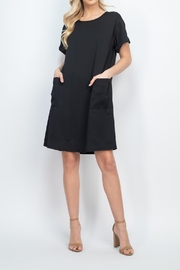 Riah Fashion Rolled-Sleeve-Front-Pocket-Solid-Dress - Other