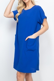 Riah Fashion Rolled-Sleeve-Front-Pocket-Solid-Dress - Back cropped